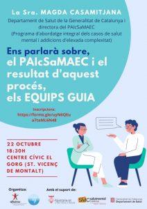 La Sra Magda Casamitjana ens explica el PAIcSaMAEC i el resultat d'aquest procés, els EQUIPS GUIA Centre Cívic El Gorg (Sant Vicenç de Montalt)